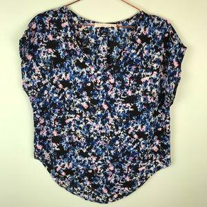 Lush high low hem cap sleeve floral blouse top